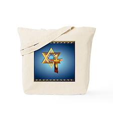 Heart JewelStar Of David and Triple Cross Tote Bag