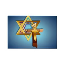 Heart JewelStar Of David and Trip Rectangle Magnet