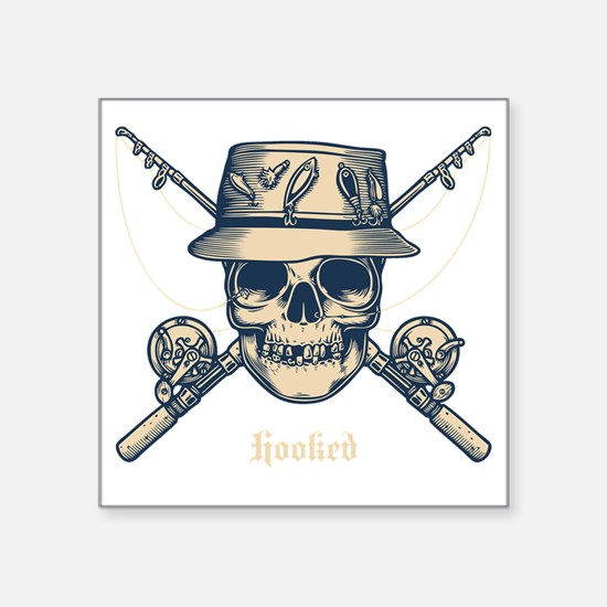 "fisher-skull-DKT Square Sticker 3"" x 3"""