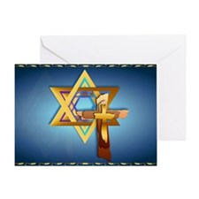 Star Of David and Triple Cross-Yards Greeting Card