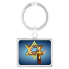 Star Of David and Triple Cross- Landscape Keychain