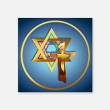 "Star Of David and Triple Cr Square Sticker 3"" x 3"""