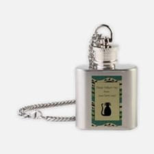 black_cat_fathers_day_card Flask Necklace