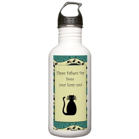 black_cat_fathers_day_ Stainless Water Bottle 1.0L