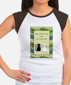 2_cats_fathers_day_card Women's Cap Sleeve T-Shirt