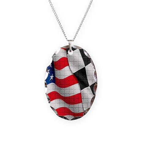 Dezine01_American Checker Flag Necklace Oval Charm