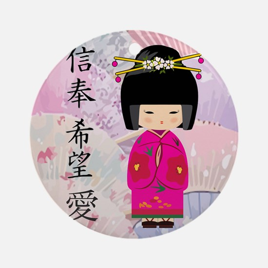 Dezine01_Geisha Faith-Hope-Love Round Ornament