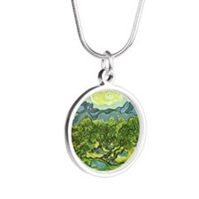 Van Gogh olive trees Silver Round Necklace