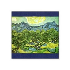 "Van Gogh olive trees Square Sticker 3"" x 3"""