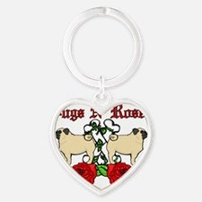 Pugs N Roses Red Text Heart Keychain