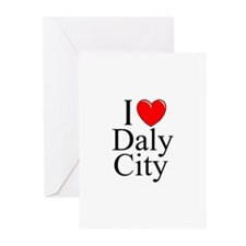 """""""I Love Daly City"""" Greeting Cards (Pk of 10)"""