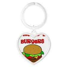 Powered by Burgers Heart Keychain