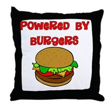 Powered by Burgers Throw Pillow
