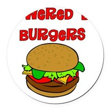 Powered by Burgers Round Car Magnet
