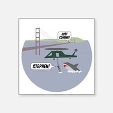 "justcoming-shark-helicopter Square Sticker 3"" x 3"""