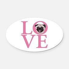 Love Pug - Oval Car Magnet