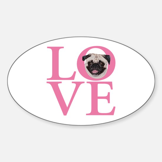 Love Pug - Sticker (Oval)