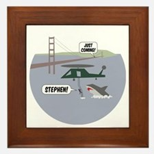 justcoming-shark-helicopter-badge Framed Tile