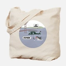 justcoming-shark-helicopter-badge Tote Bag