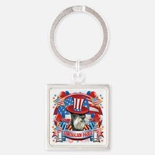 American Pride Miniature Schnauzer Square Keychain