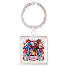 American Pride Doberman Square Keychain