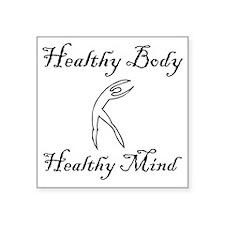 """healthy body black 1 Square Sticker 3"""" x 3"""""""