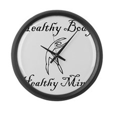 healthy body black 1 Large Wall Clock