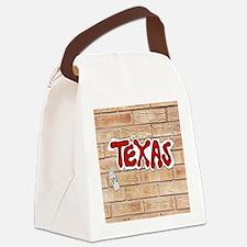 Texas Graffiti On Brick Wall Canvas Lunch Bag