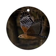 (14) Red Shouldered Hawk Flying Round Ornament