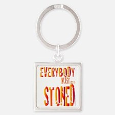 Stoned Square Keychain