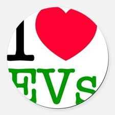 I Love Electric Vehicles Round Car Magnet