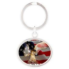 4D5Q2378 American Barn Owl SF Oval Keychain