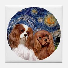 J-ORN-Starry-Two Cavaliers-BL+R Tile Coaster