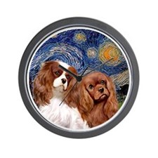 J-ORN-Starry-Two Cavaliers-BL+R Wall Clock