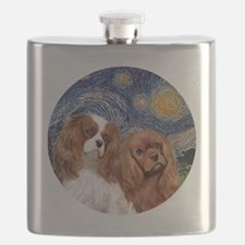 J-ORN-Starry-Two Cavaliers-BL+R Flask