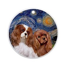 J-ORN-Starry-Two Cavaliers-BL+R Round Ornament