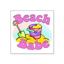 "Beach Babe Square Sticker 3"" x 3"""