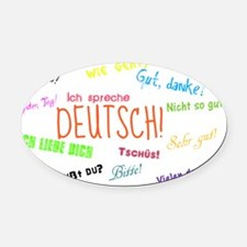 White Background Oval Car Magnet