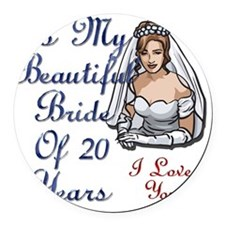 Beautiful Bride 20 Round Car Magnet
