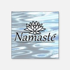 """NamasteLotusFocal-waterBG Square Sticker 3"""" x 3"""""""
