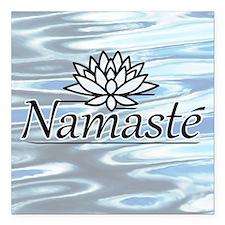 """NamasteLotusFocal-waterB Square Car Magnet 3"""" x 3"""""""