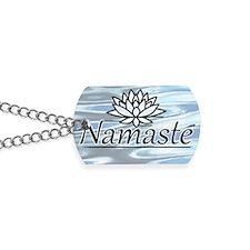 NamasteLotusFocal-waterBG-cropped Dog Tags