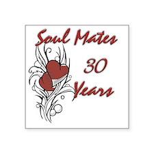 "SOUL MATES Red 30 Square Sticker 3"" x 3"""