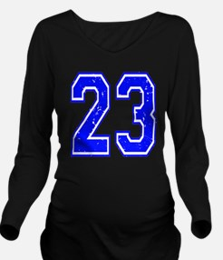 23 Blue Distressed Long Sleeve Maternity T-Shirt