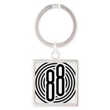 auto-olds-88-002b-black Square Keychain
