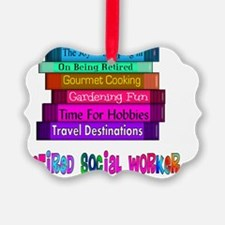 retired social worker book stack Ornament