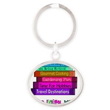 Retired Postal worker BOOK STACK Oval Keychain