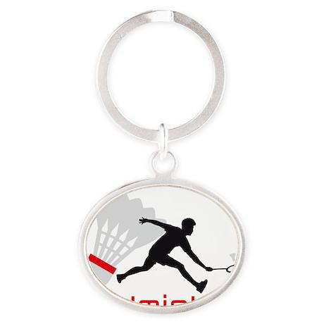 Badminton Oval Keychain