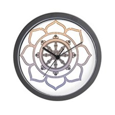 DharmaWheelLotusFlower Wall Clock