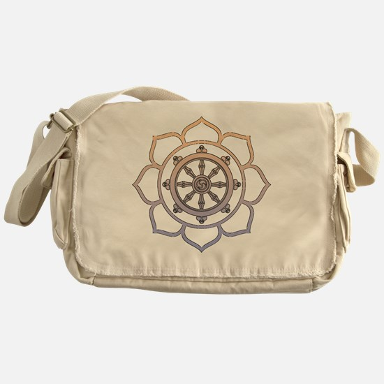 DharmaWheelLotusFlower Messenger Bag